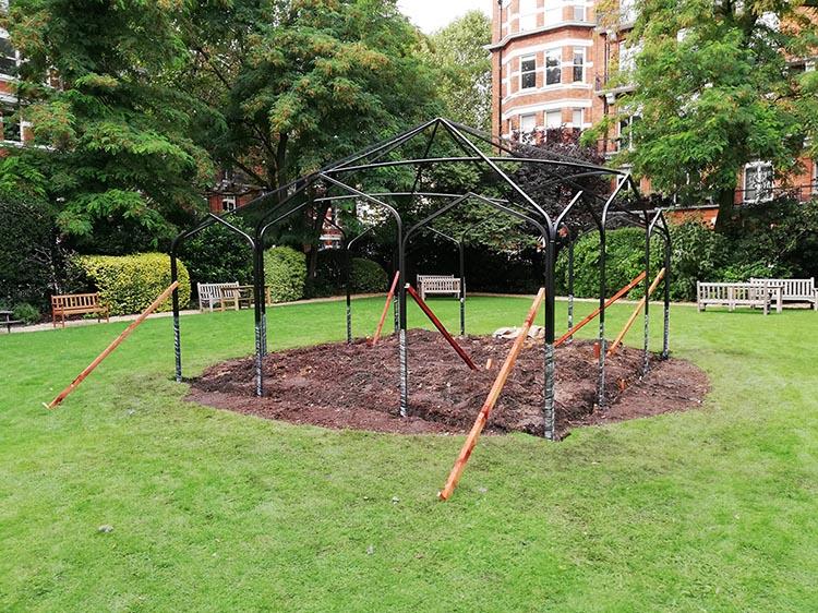 Der frisch aufgebaute Metall Pavillon Sissinghurst n London