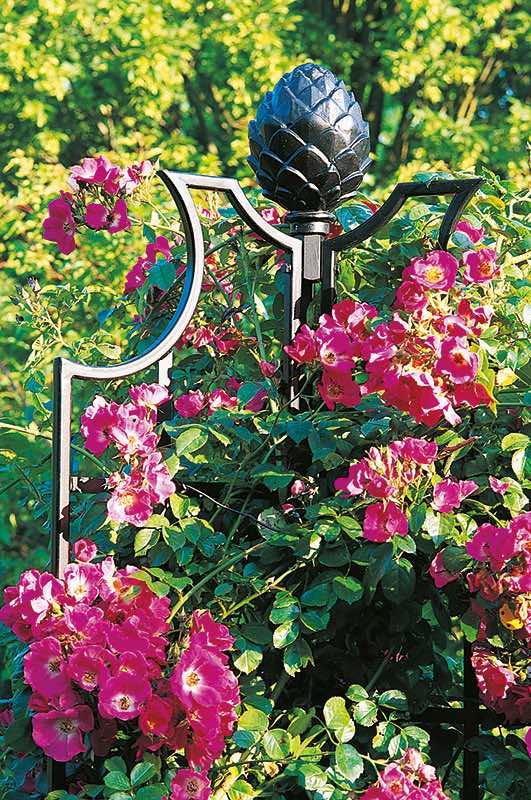 Metall Rosen Obelisk sehr hochwertig mit Pinienzapfen