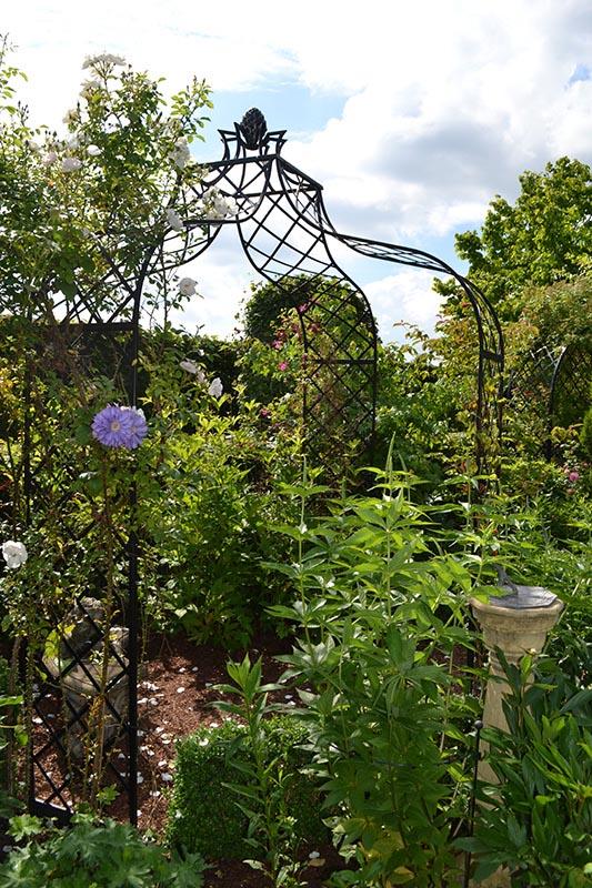 Rosenpavillon mit weißer Kletterrose