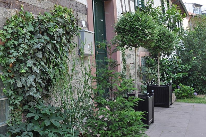 Zwei Versailler Pflanzkübel aus Metall flankieren Hauseingang