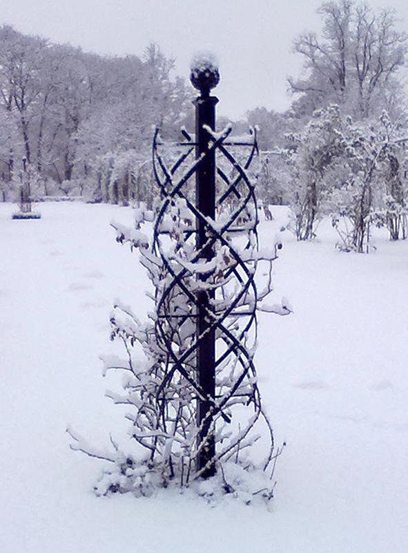 rosensäule aus metall in winterlandschaft