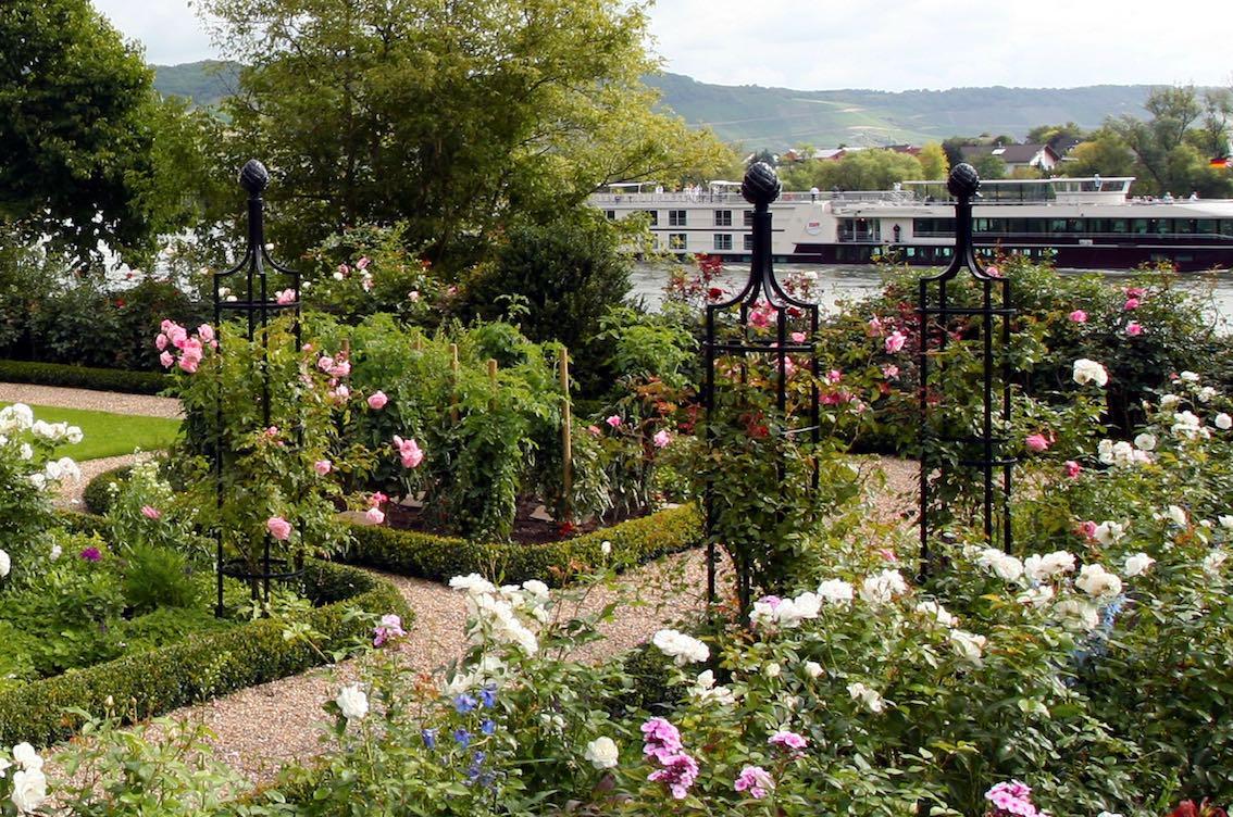 Drei Rankhilfen aus schwarzen Metall für Rosen und Kletterpflanzen