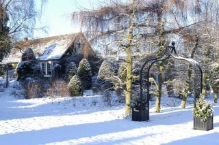 Klassischer Rosenbogen aus Metall im Winter vor Haus