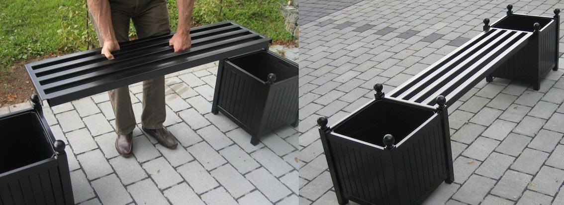 Zwei Metall Pflanzkübel mit Metall Sitzbank