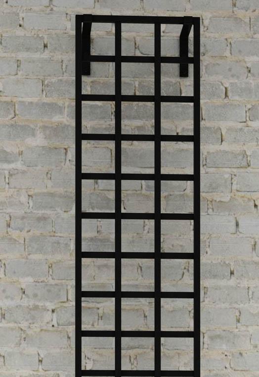 Detail Schmales Metall Rankgitter im Bauhaus Design