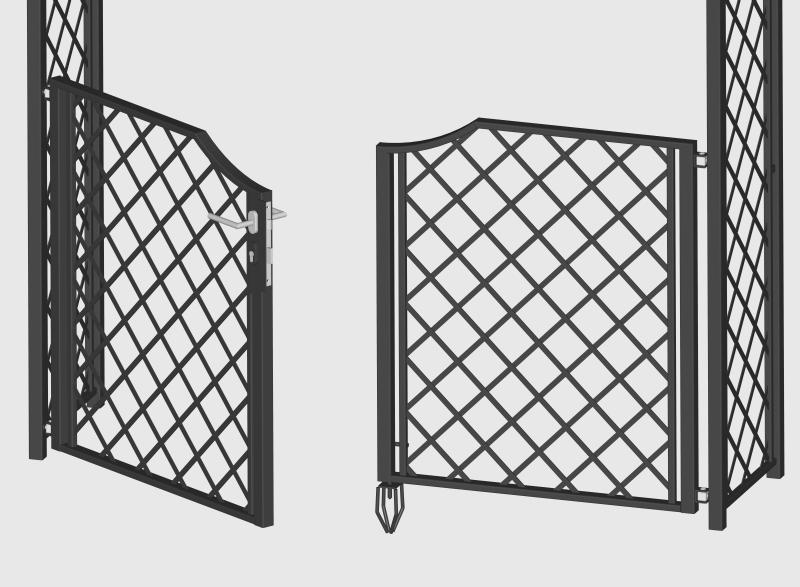 Detailansicht Gartentüre für Metall Rosenbögen
