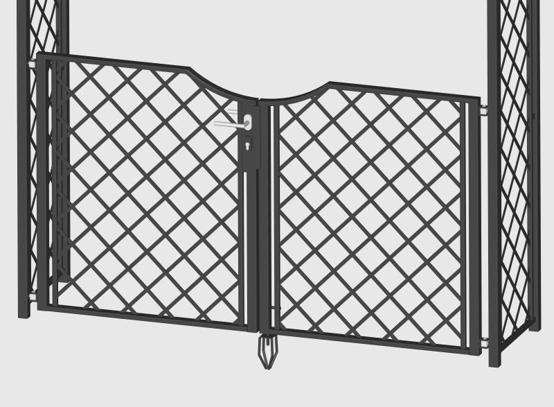 Detailansicht Gartentüre für Metall Rosenbogen