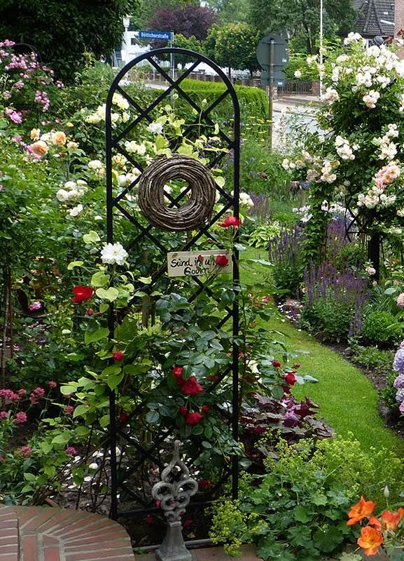 Metall Rankgitter für rote Rosen am Hauseingang