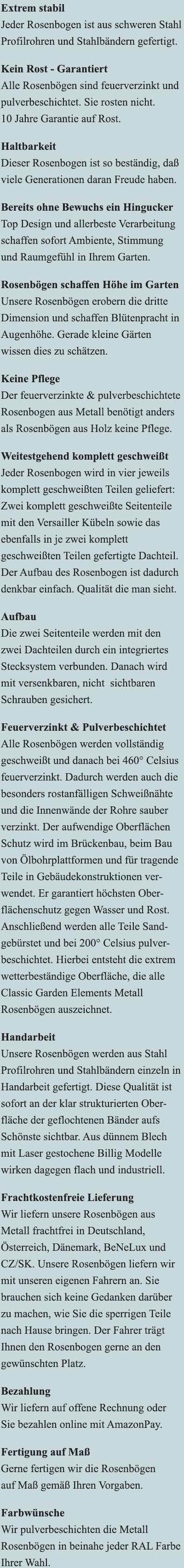 Metall Rosenbogen mit Bank & Versailler Kübeln