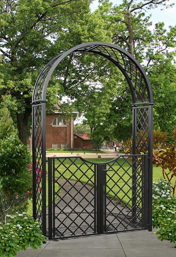 Metall Rosenbogen mit Gartentüre