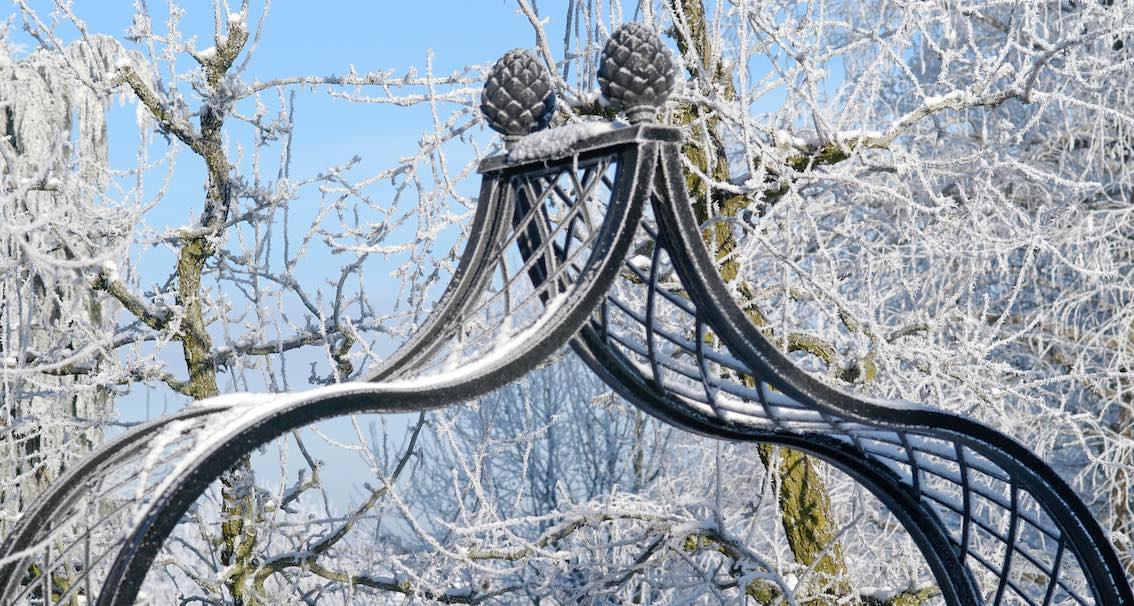 Metall Rosenbogen schwarz im Winter mit zwei Pinienzapfen