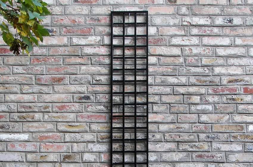 Schmales Rankgitter viereckig in Schwarz aus Metall an Wand 200 x 30