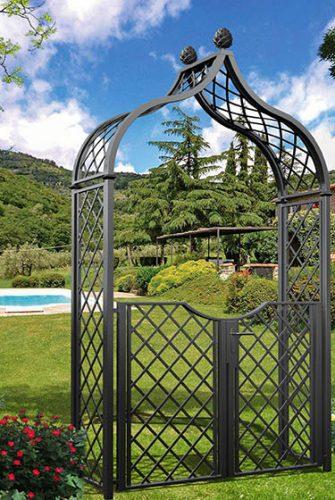 Viktorianischer Metall Rosenbogen mit Gartentüre