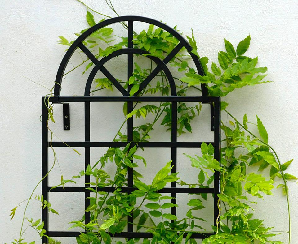 Wandgitter Orangerie aus Metall in Schwarz mit Glyzinie