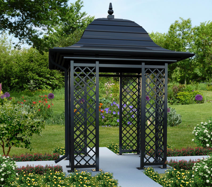450 cm hoher Gartenpavillon aus feuerverzinktem Stahl