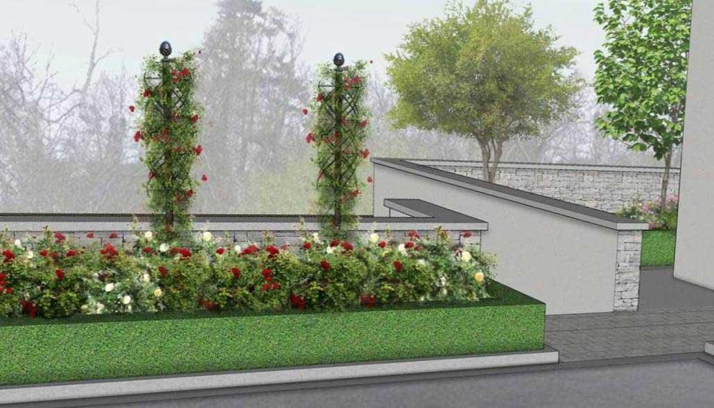 Gartengestaltung mit der Rosensäule Charleston (1)