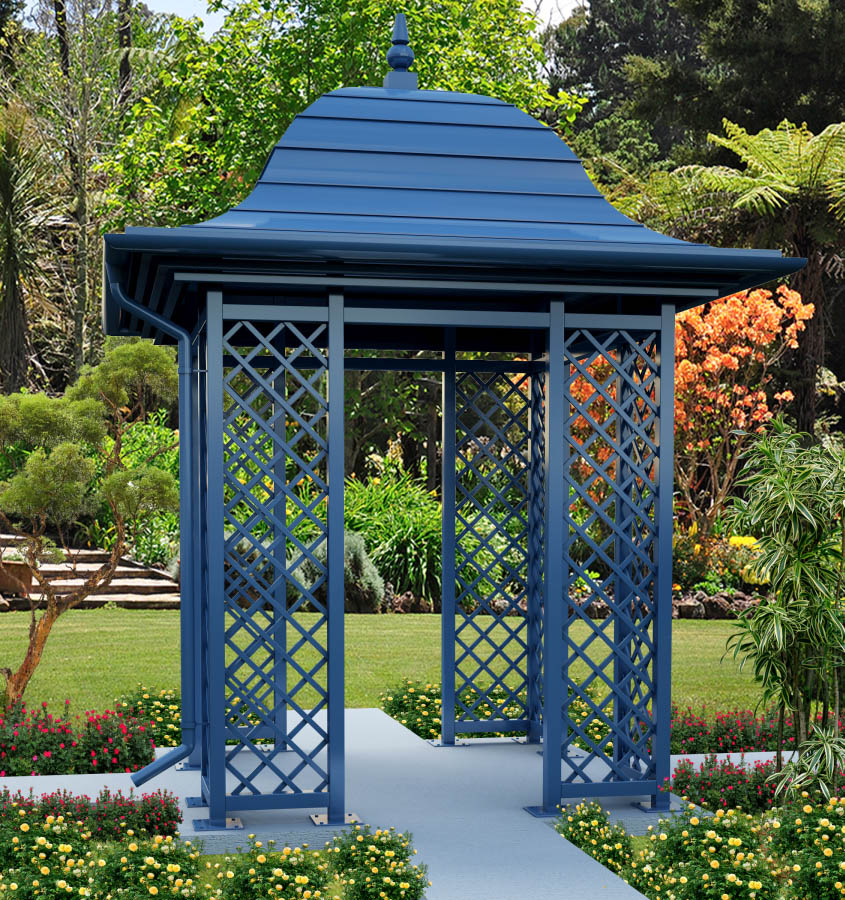 Gartenpavillon Wallingford in Fernblau RAL 5023