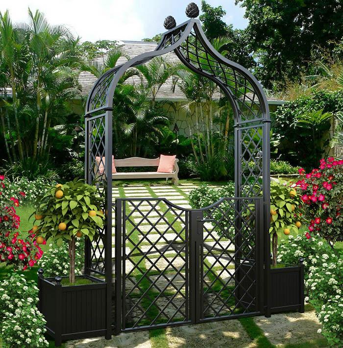 Metall Rosenbogen Brighton mit Gartentüre & Kübeln