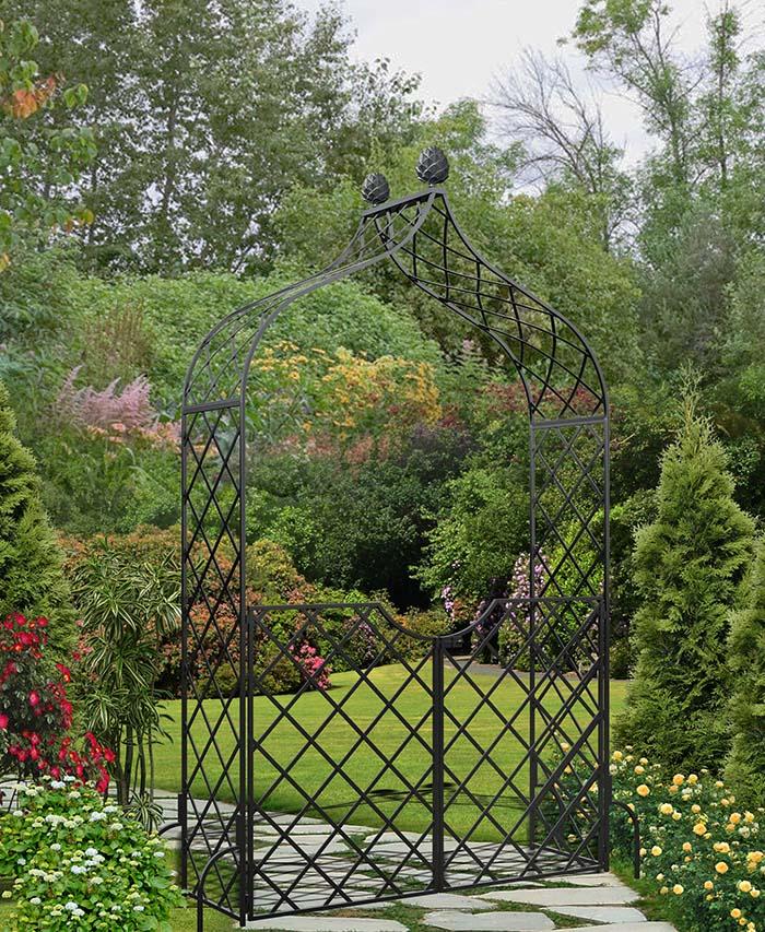 Metall Rosenbogen Kiftsgate mit Gartentüre