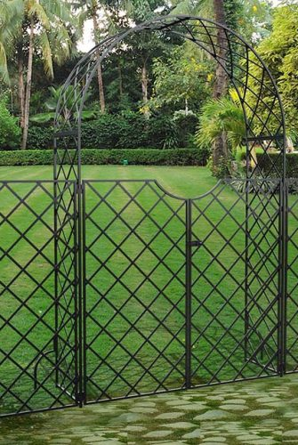 Metall Rosenbogen mit Tor & seitlichem Zaun