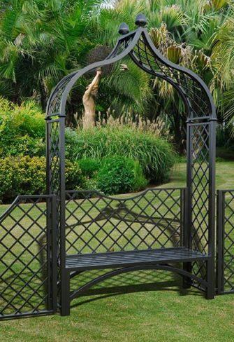 Metall Rosenbogen mit integrierter Gartenbank