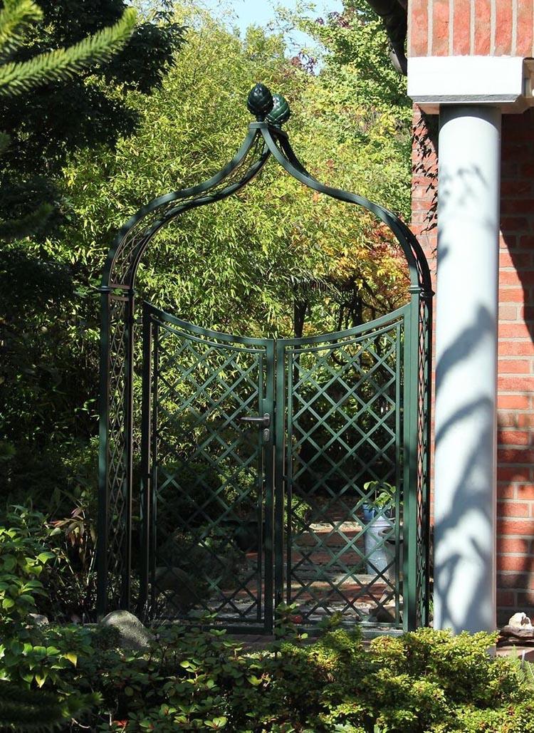Metall Rosenbogen mit zweiflügeliger Gartentüre