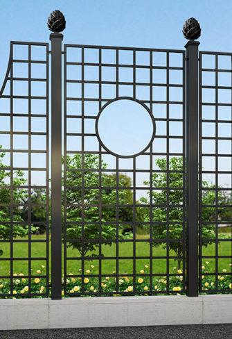 Moderner Kunstschmiede Zaun Lamport Grand Set in Parkanlage