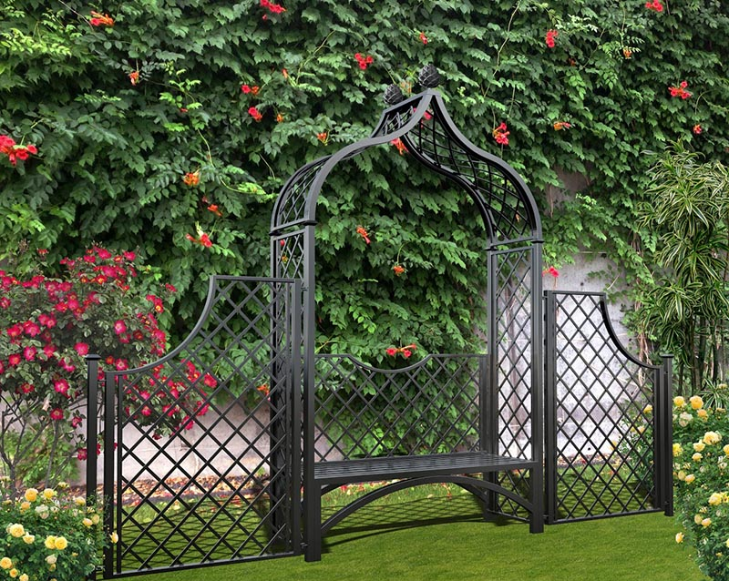 Metall Rosenbogen Brighton mit Gartenbank und Zaun