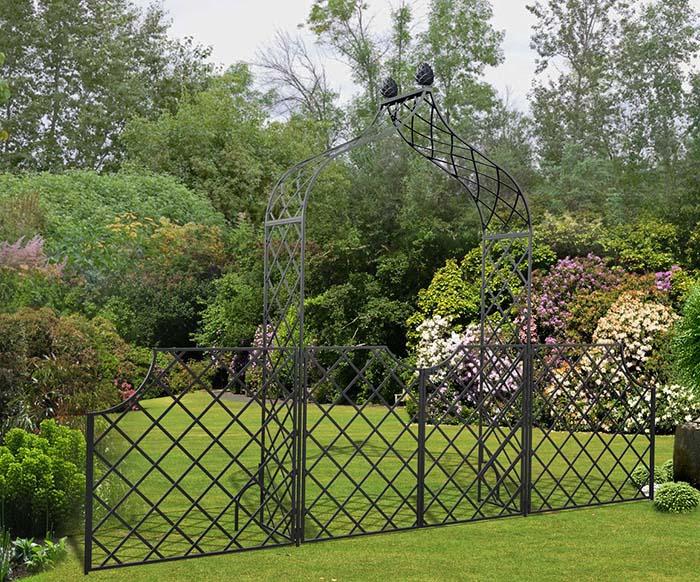 Metall Rosenbogen Kiftsgate Mit Zweiflugeliger Gartenture Zaun