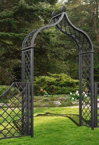 Viktorianischer Metall Rosenbogen mit Gartenzaun