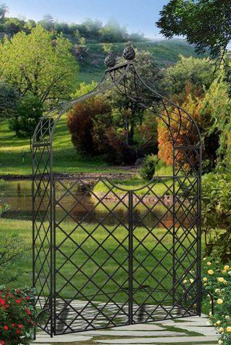 Viktorianischer Rosenbogen aus Metall mit Tor