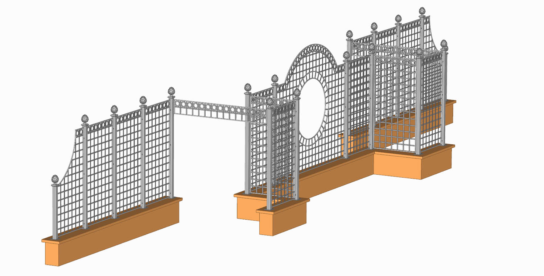 3-D Ansicht Trianon Rosen Treillage Set aus Metall