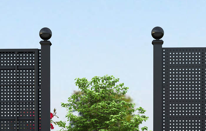 Details Gropius Sichtschutzzaun aus Stahl