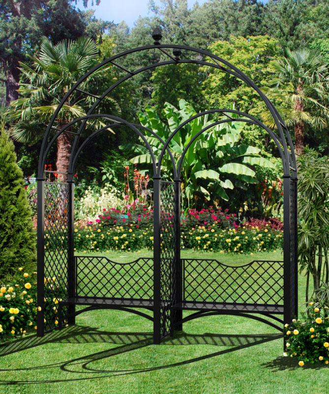 Dreiteiliger Metall Hochzeitsbogen mit Gartenbank