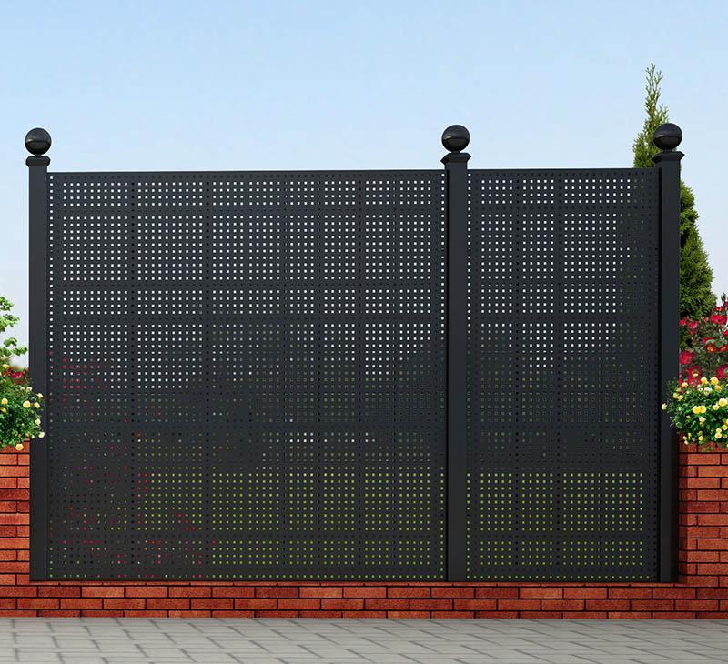Großes und Kleines Gitter Gropius Sichtschutzzaun aus Stahl