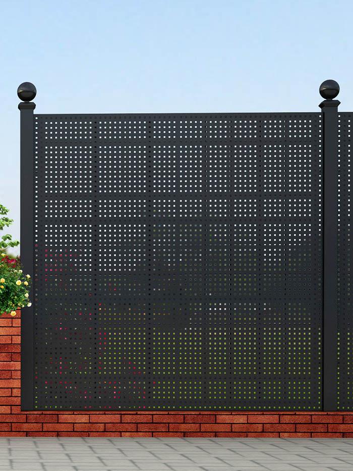 Gropius Sichtschutzzaun aus Stahl Großes Gitter