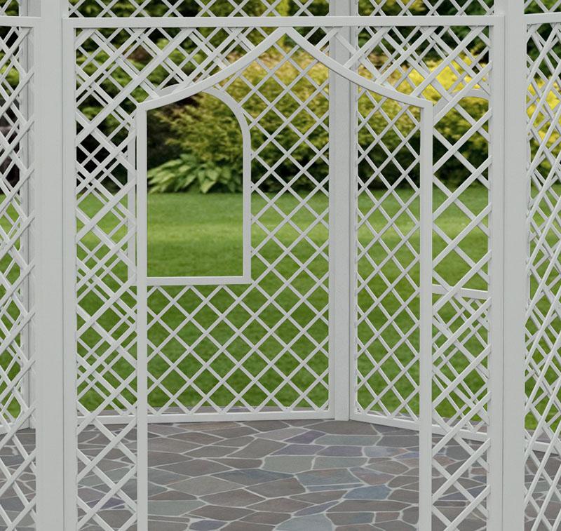 Weißer Rosenpavillon Zweibrücken aus Metall