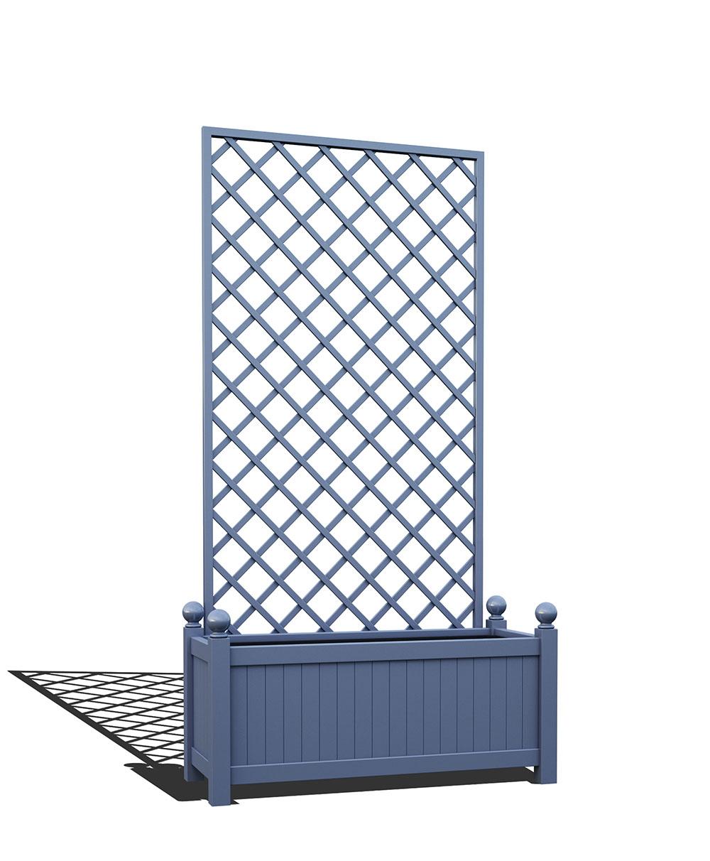 R17-Y-DHD-Langer Pflanzkübel mit abnehmbaren Rankgitter in RAL 5014 pigeon blue