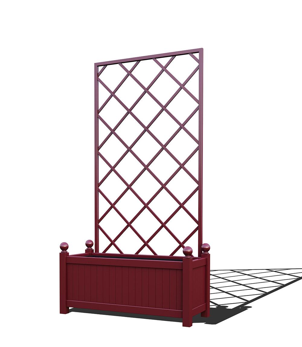 R17-Y-DLD-Langer Metall Pflanzkübel mit abnehmbaren Rankgitter in RAL 3005 wine red