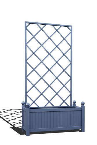 R17-Y-DLD-Langer Metall Pflanzkübel mit abnehmbaren Rankgitter in RAL 5014 pigeon blue
