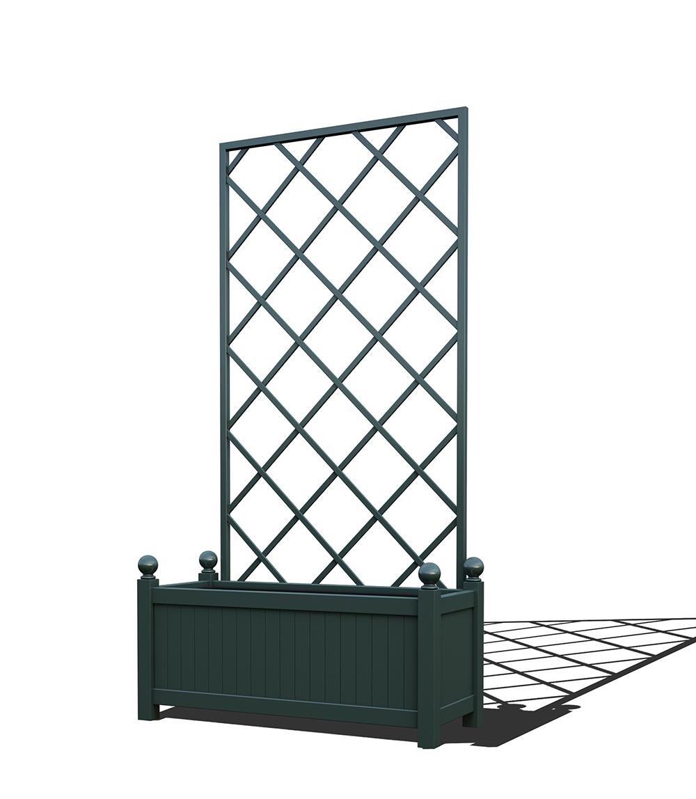 R17-Y-DLD-Langer Metall Pflanzkübel mit abnehmbaren Rankgitter in RAL 6012 black green