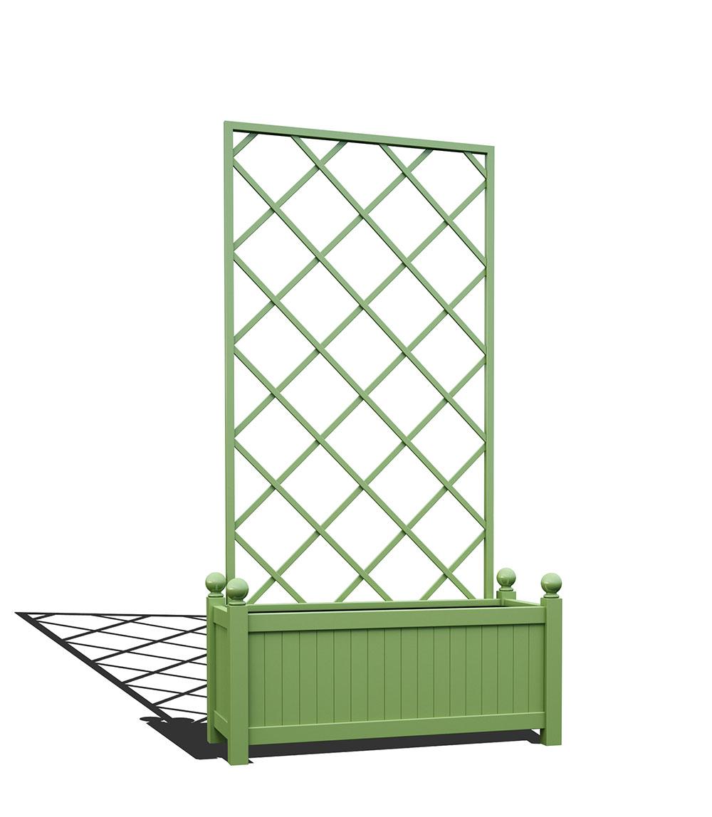 R17-Y-DLD-Langer Metall Pflanzkübel mit abnehmbaren Rankgitter in RAL 6021 pale green