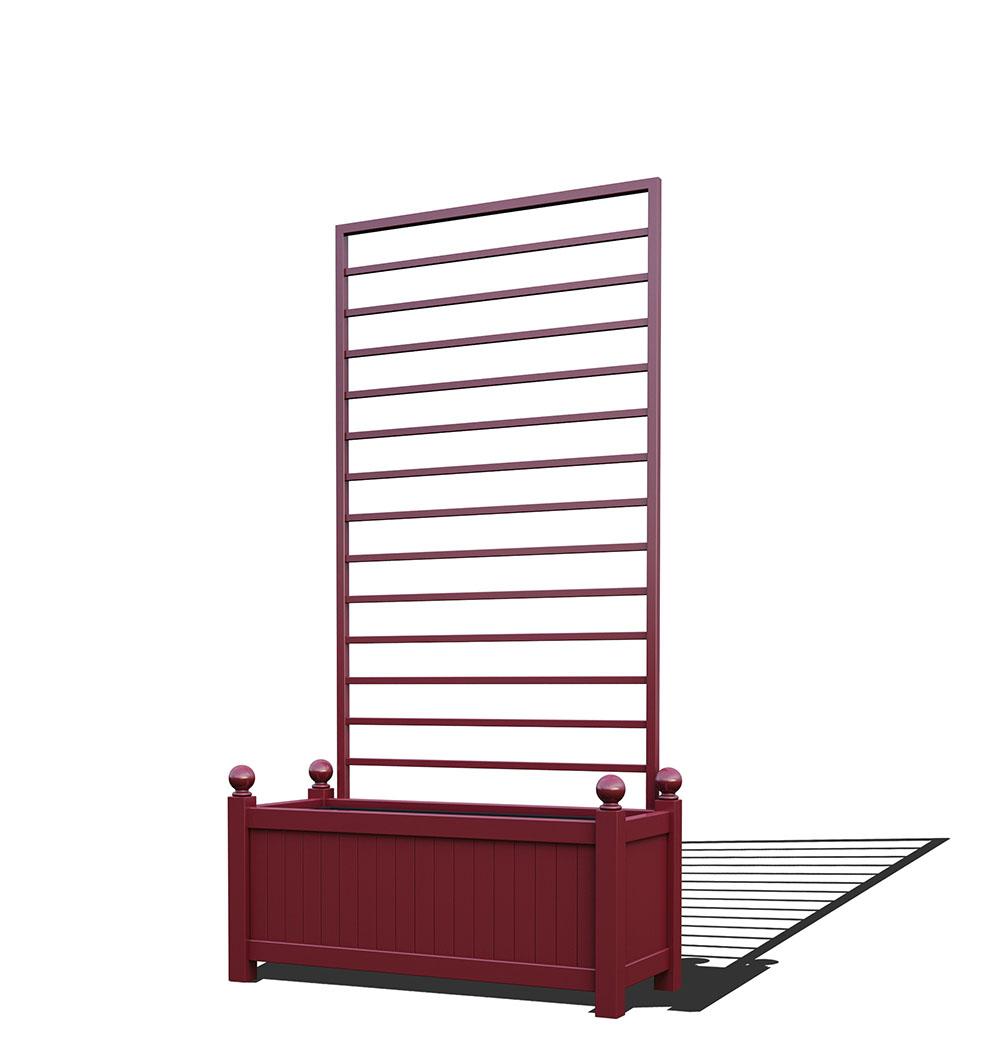R17-Y-LHD-Langer Metall Pflanzkübel mit abnehmbaren Rankgitter in RAL 3005 wine red