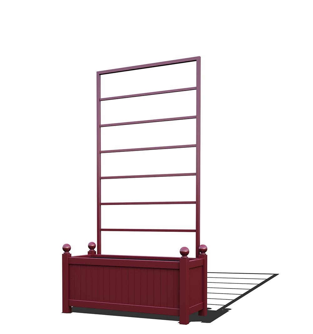 R17-Y-LLD-Langer Metall Pflanzkübel mit abnehmbaren Rankgitter in RAL 3005 wine red