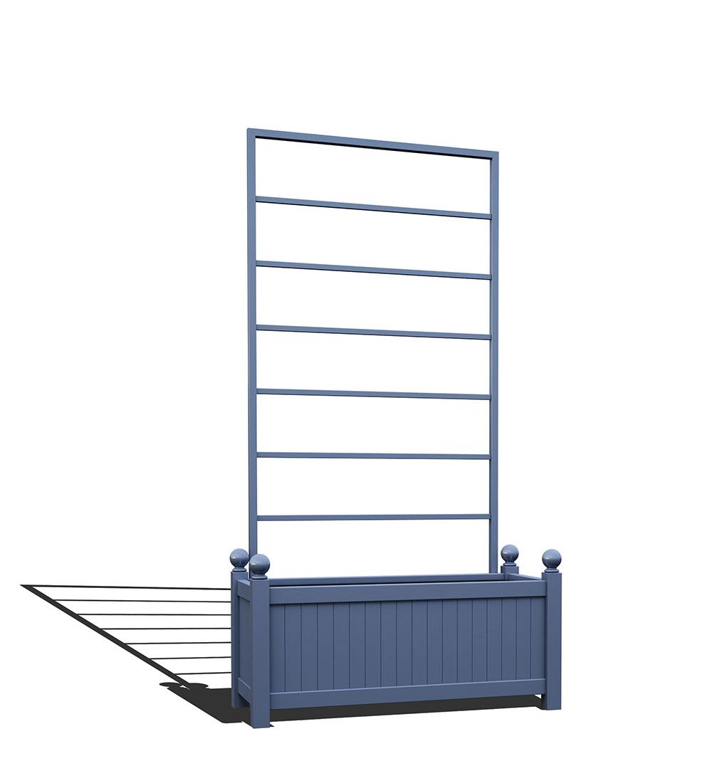 R17-Y-LLD-Langer Metall Pflanzkübel mit abnehmbaren Rankgitter in RAL 5014 pigeon blue