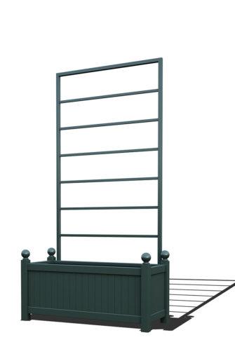 R17-Y-LLD-Langer Metall Pflanzkübel mit abnehmbaren Rankgitter in RAL 6012 black green