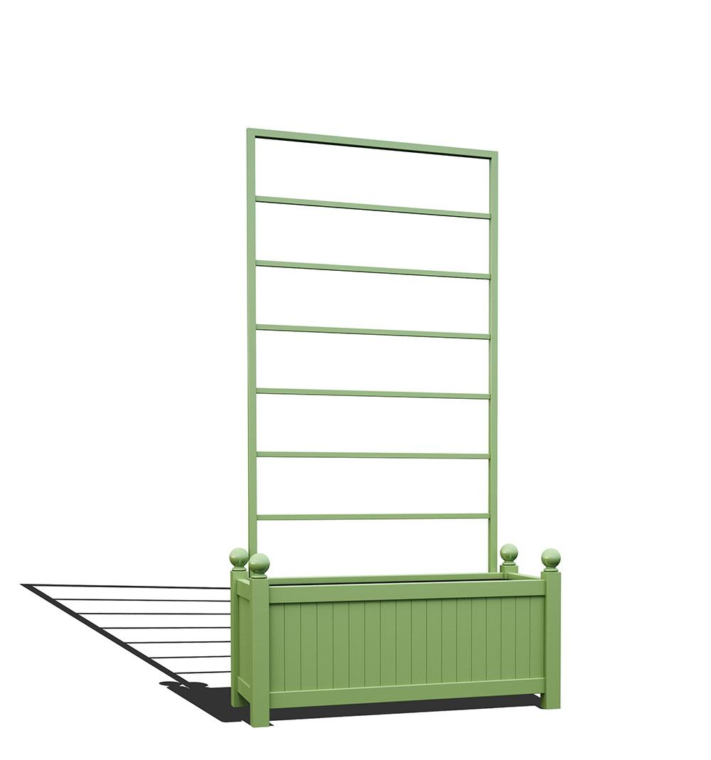 R17-Y-LLD-Langer Metall Pflanzkübel mit abnehmbaren Rankgitter in RAL 6021 pale green