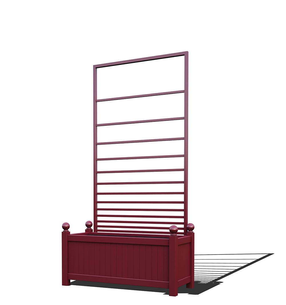 R17-Y-PHL-Langer Metall Pflanzkübel mit abnehmbaren Rankgitter in RAL 3005 wine red