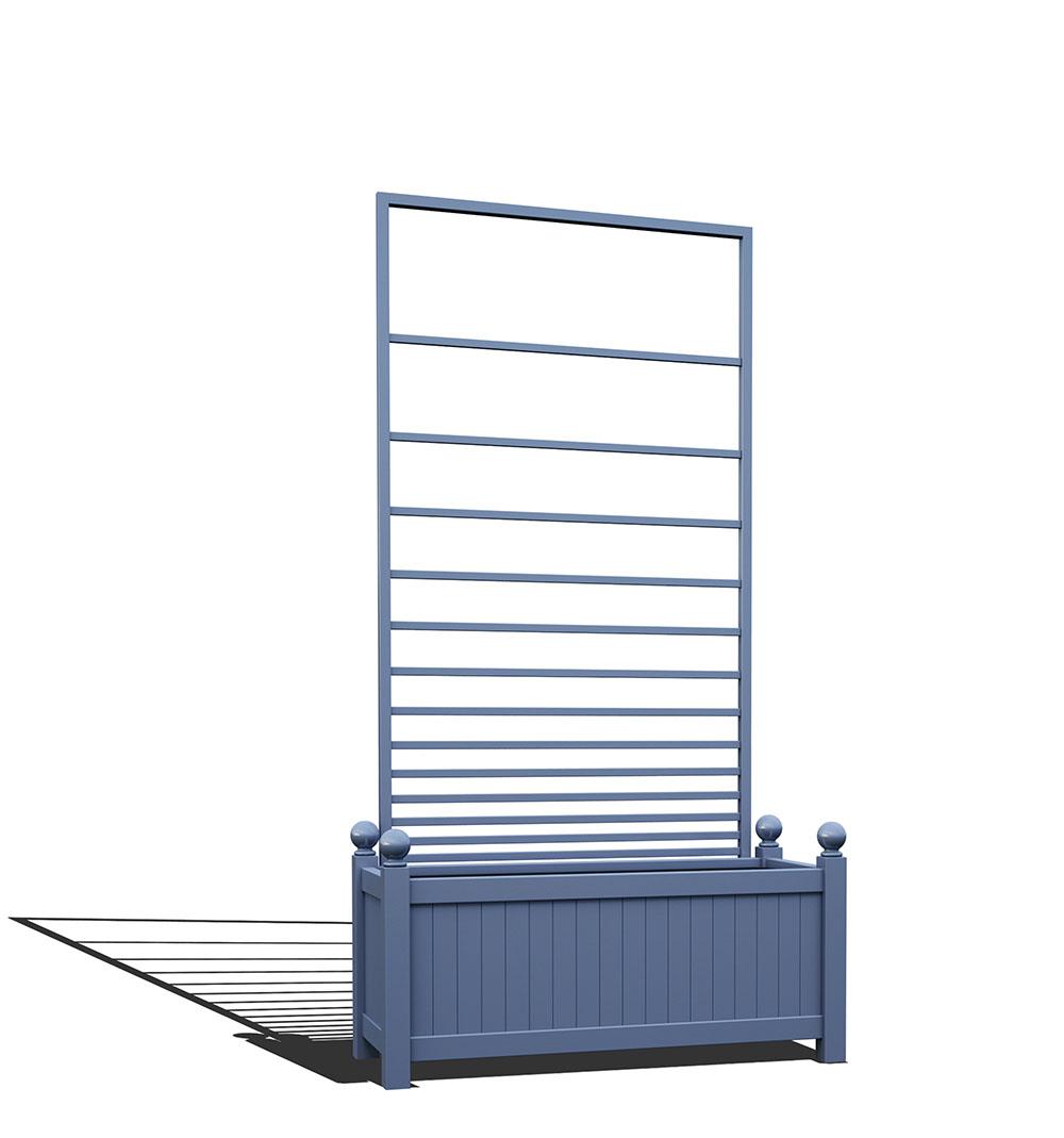 R17-Y-PHL-Langer Metall Pflanzkübel mit abnehmbaren Rankgitter in RAL 5014 pigeon blue