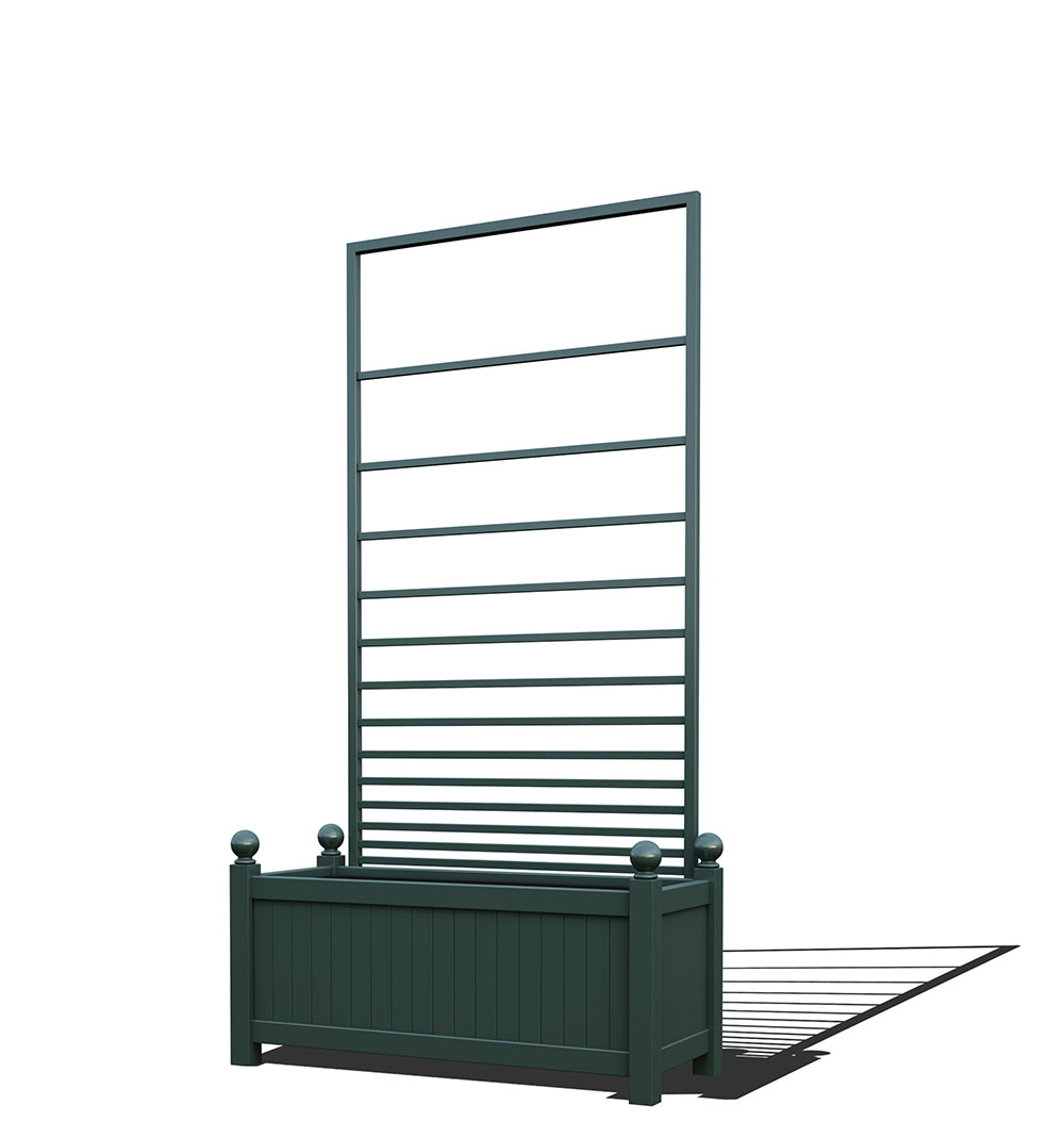 R17-Y-PHL-Langer Metall Pflanzkübel mit abnehmbaren Rankgitter in RAL 6012 black green